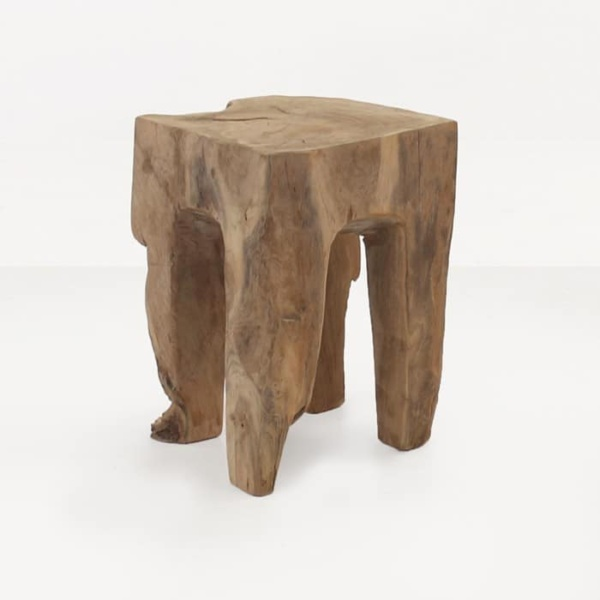 square teak root accent table angle view