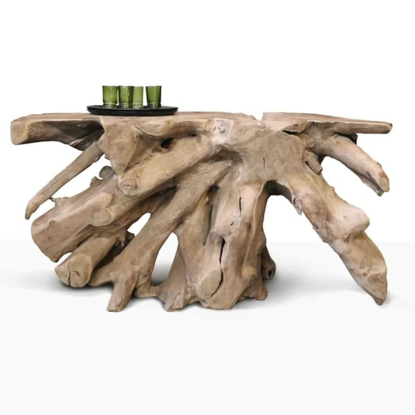 root console reclaimed teak coffee table