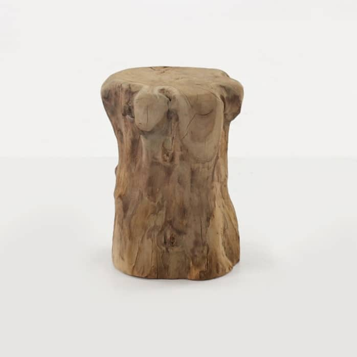 teak root accent table side view