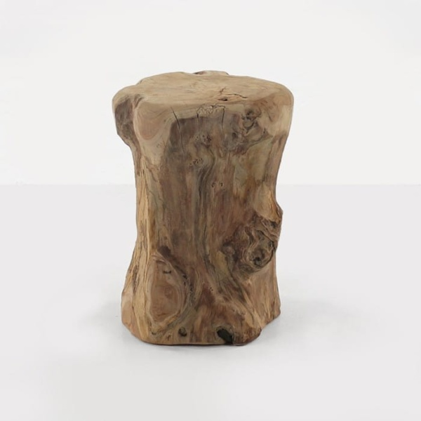 teak root accent table round side view