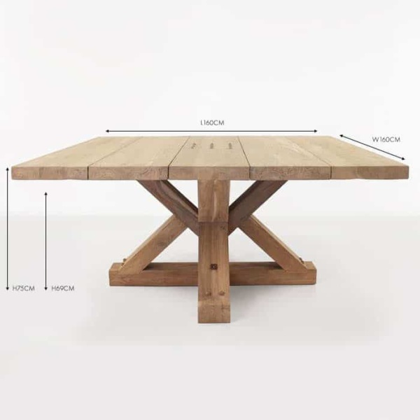 Alex reclaimed teak square outdoor dining table