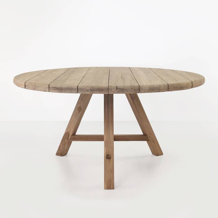 Toni reclaimed teak dining table round side view