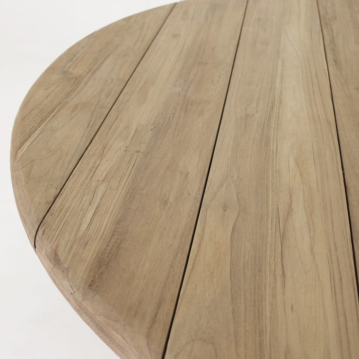 Toni reclaimed teak dining table top close up