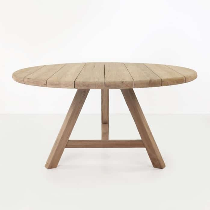 Toni reclaimed teak round outdoor dining table