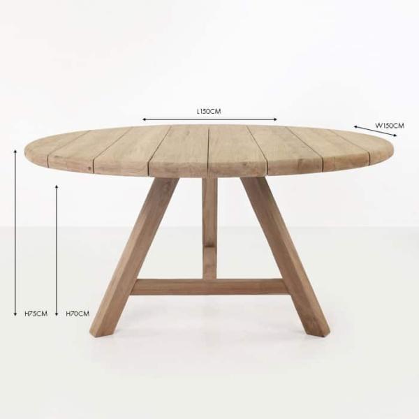 Toni round teak dining table