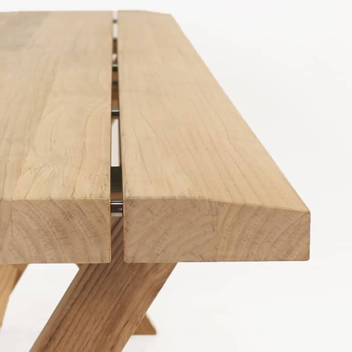 Artisan a-grade teak console table close up