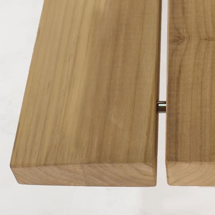 Artisan a-grade teak dining table close up