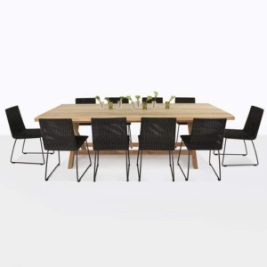 Artisan Teak and Wicker Outdoor Dining Set with 10 Black Wicker Chairs