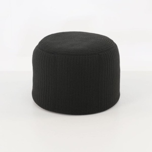 Gigi outdoor round ottoman black side view