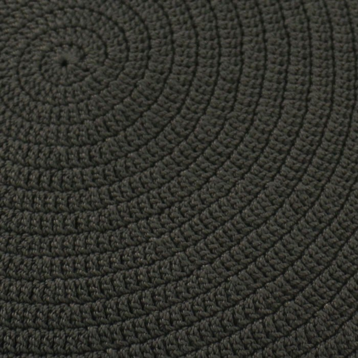 Gigi outdoor round woven ottoman black close up