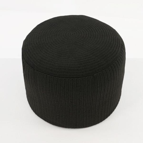 Gigi outdoor round ottoman black