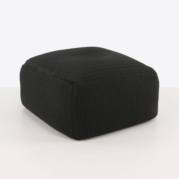 Gigi black square cushion ottoman angle view