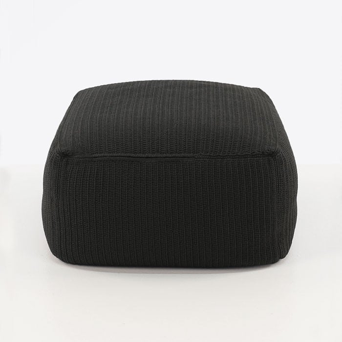 Gigi black square cushion ottoman side view