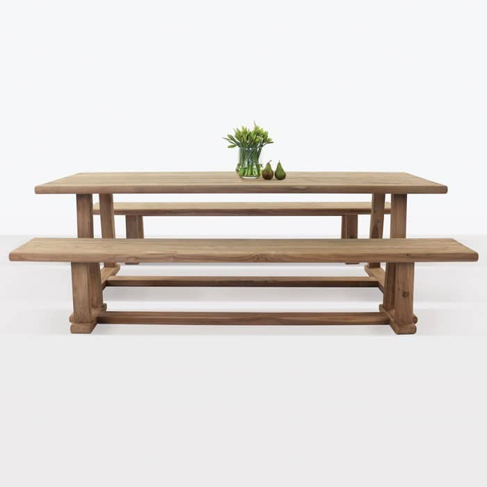 Joseph outdoor reclaimed teak dining table with two reclaimed teak benches
