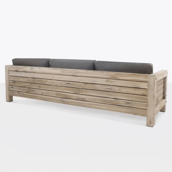 Lodge distressed reclaimed teak outdoor sofa back view
