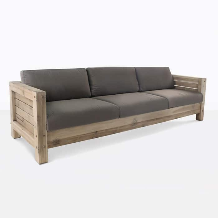 Lodge distressed reclaimed teak sofa angle view