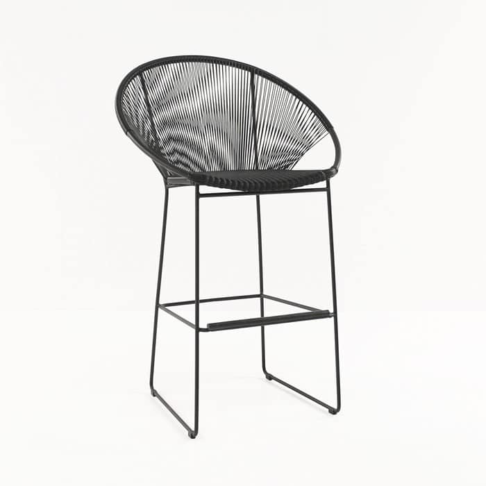 Pietro Wicker Bar Chair Black front view