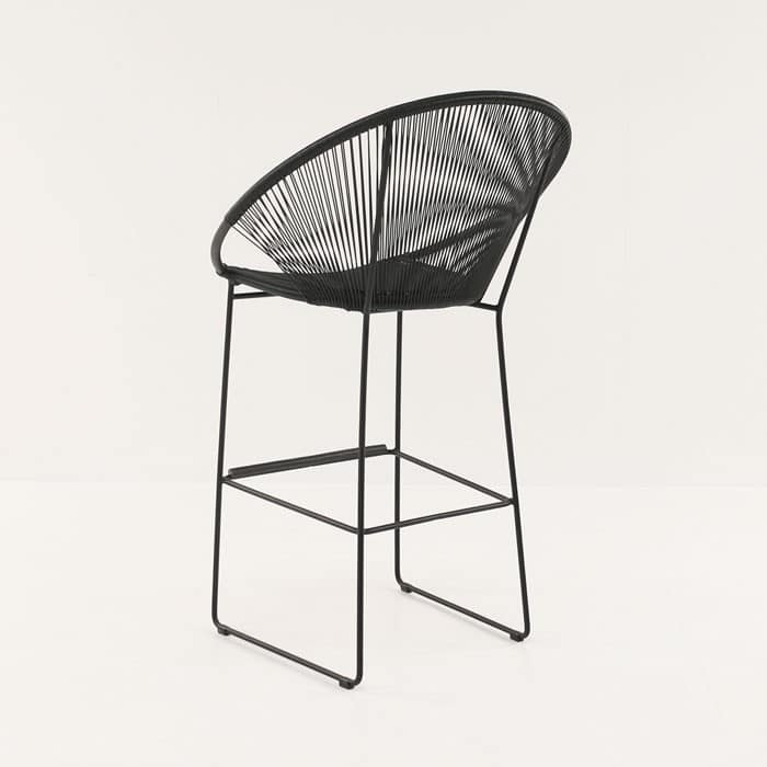 Pietro Wicker Bar Chair Black angle view