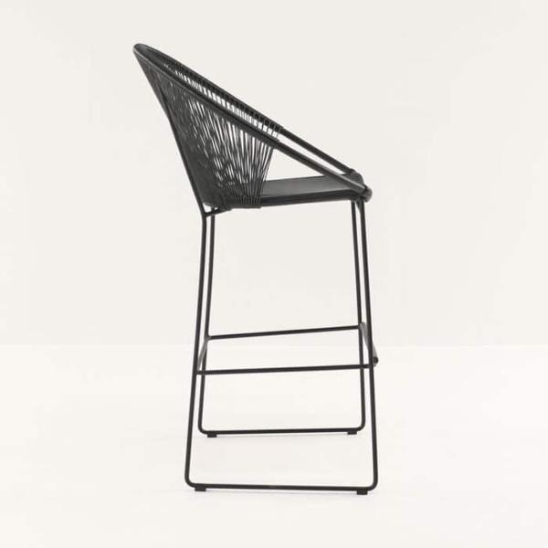 Pietro Wicker Bar Chair Black side view