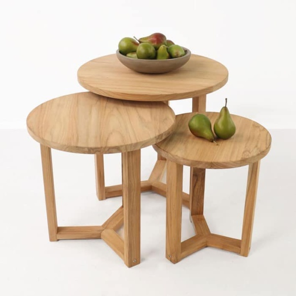 Ying three A-grade teak accent tables with pears