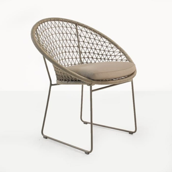 Natalie Outdoor woven outdoor dining chair taupe angle view