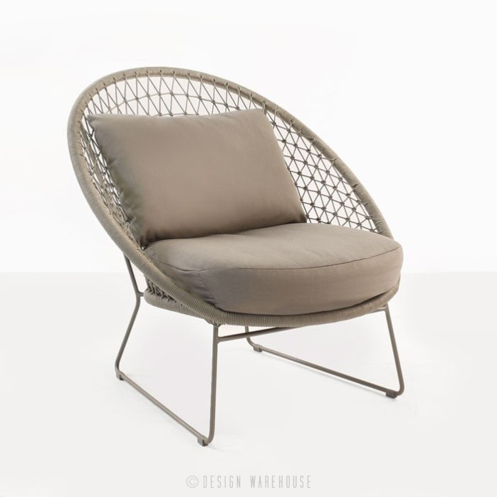 Natalie Outdoor rope relaxing chair taupe rounded angle view
