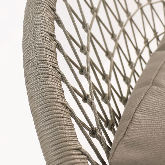 Natalie Outdoor rope relaxing chair taupe closeup