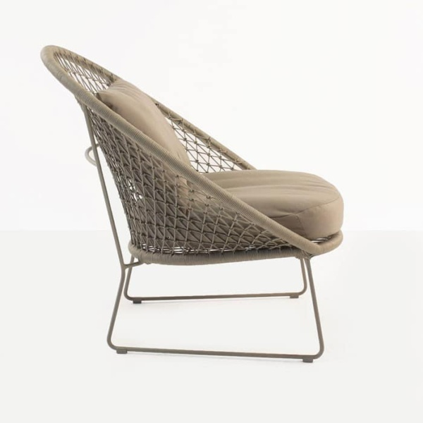 Natalie Outdoor rope relaxing chair taupe with cushions side view