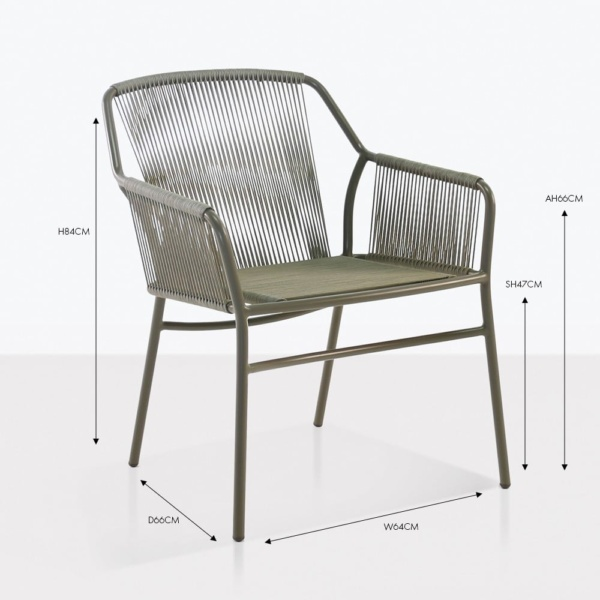 phileep wicker rope dining arm chair