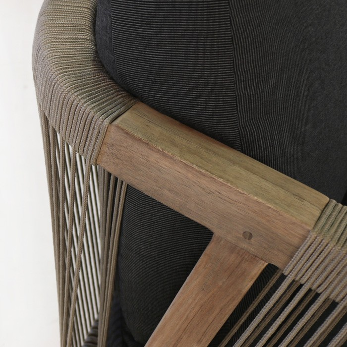 Brentwood reclaimed teak relaxing chair taupe and black closeup view