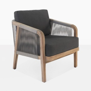 Brentwood reclaimed teak relaxing chair taupe and black