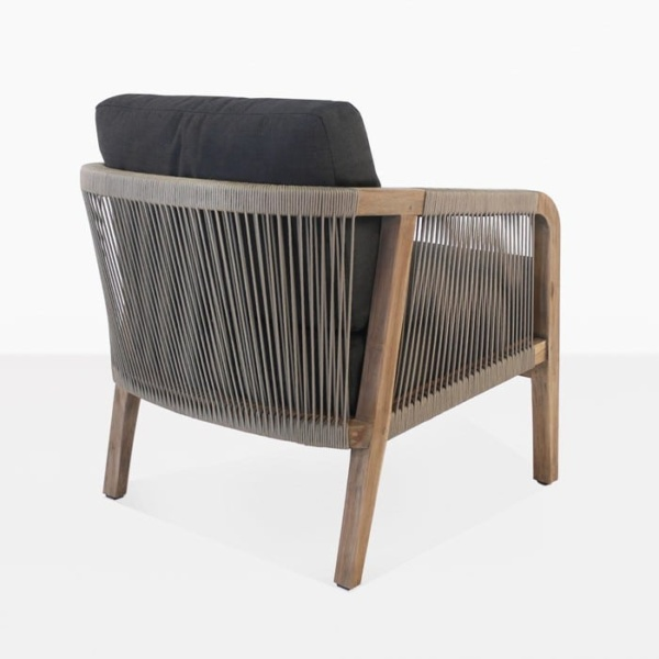 Brentwood reclaimed teak relaxing chair taupe and black side view