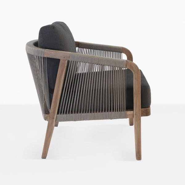 Brentwood reclaimed teak relaxing chair taupe and black with cushion side view