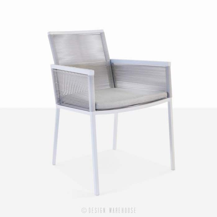 Republic outdoor woven dining arm chair white modern dining chair