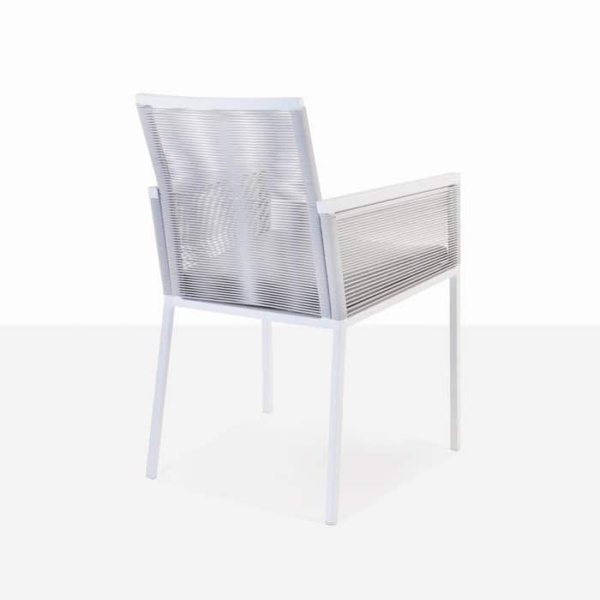 Republic outdoor woven dining arm chair stone back view