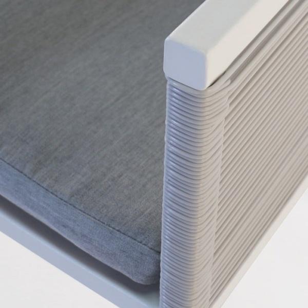 Republic outdoor woven dining arm chair white aluminium outdoor closeup image