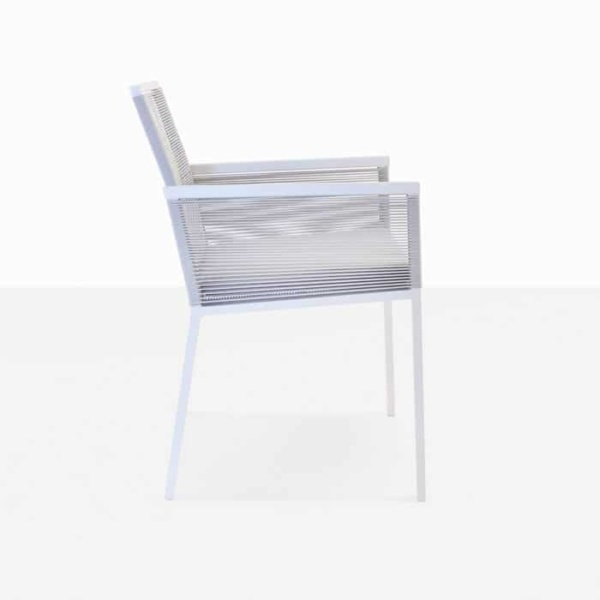Republic outdoor woven dining arm chair white with cushion stone side view