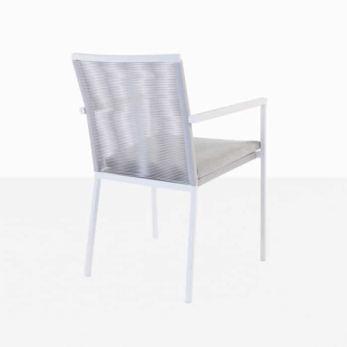 Republic outdoor woven dining chair white woven back view
