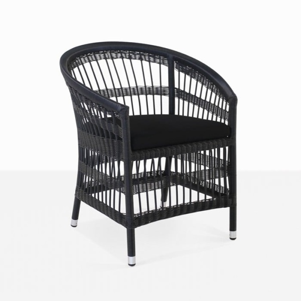 Sahara wicker dining chair in black front view