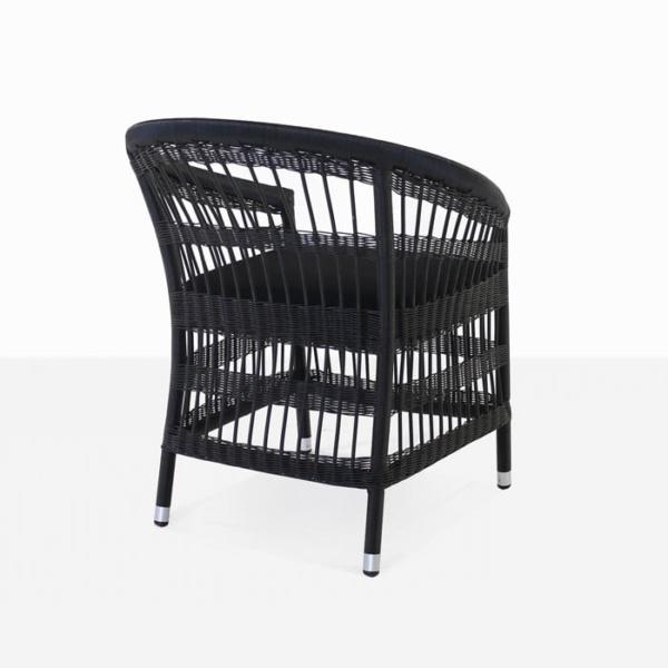 Sahara black wicker dining chair with cushion rear view
