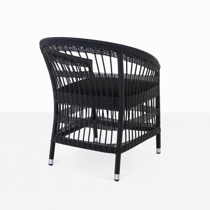 Sahara black wicker dining chair with cushion rear view