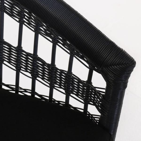 Sahara black outdoor wicker dining chair closeup image