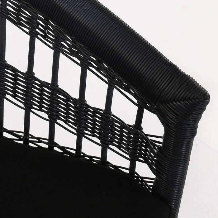 Sahara black outdoor wicker dining chair closeup image