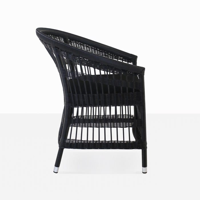 Sahara black outdoor wicker dining chair in black side view