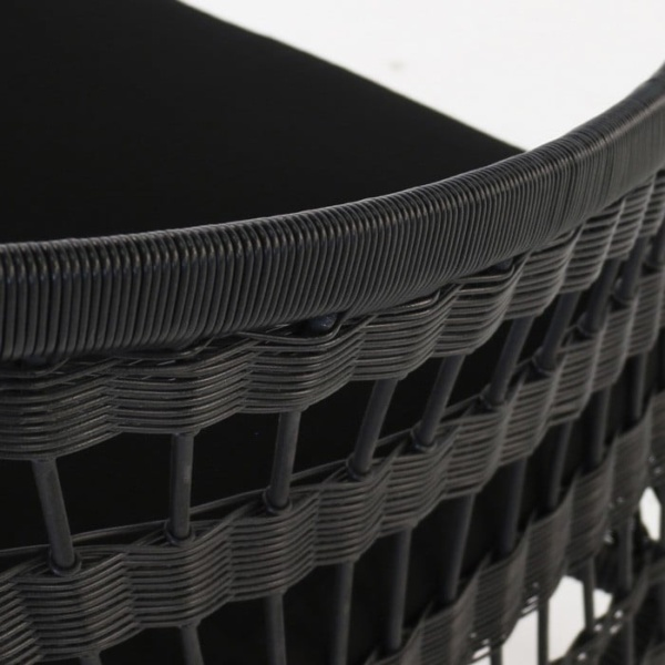 Sahara black premium wicker weave relaxing chair closeup image