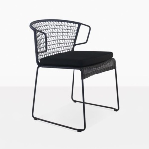 Sophia Outdoor black wicker and steel dining chair angle view