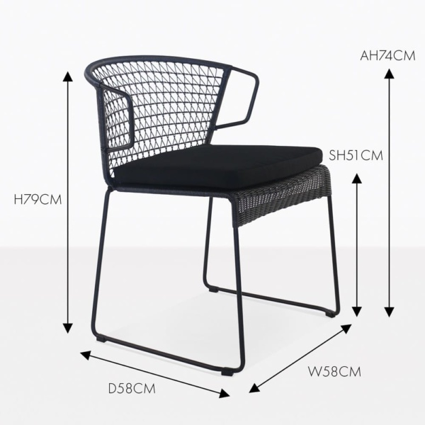 Sophia black outdoor wicker dining chair