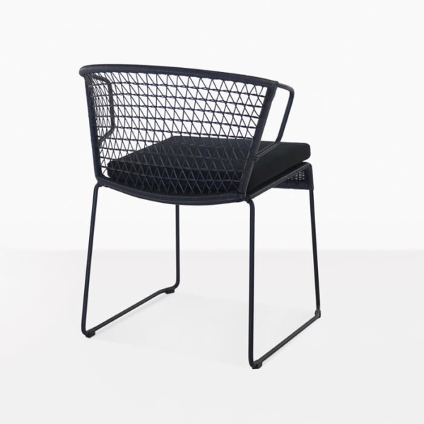 Sophia Outdoor black wicker dining chair with cushion back view