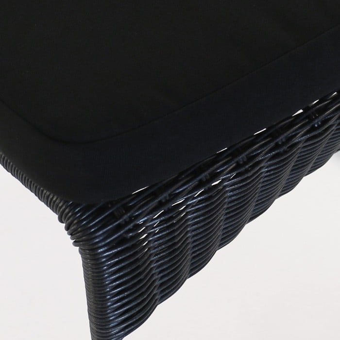 Sophia Outdoor black outdoor wicker dining chair closeup image