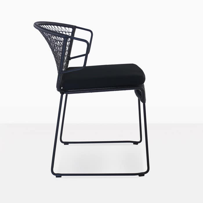Sophia Outdoor modern outdoor dining chair black side view